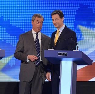 The second televised debate between Nick Clegg, right, and Nigel Farage was a bruising battle