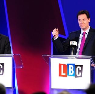 "Salisbury Journal: Nick Clegg (right) said his debates with Nigel Farage were just a ""curtain raiser""."