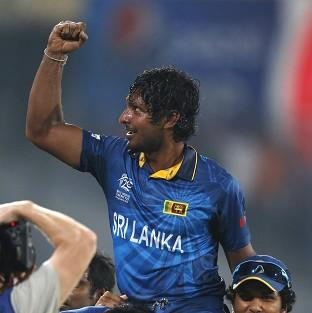 Sri Lanka's Kumar Sangakkara celebrates with teammates (AP)