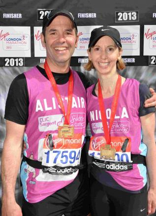 Alistair and Nicola Richards after last year's London Marathon.