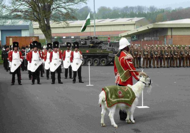 Salisbury Journal: The Colour Party marches past the Colonel of the Regiment with regimental goat Lance Corpo