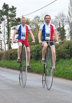 Andrew Donald and Chris Saltrick on their Penny Farthings.