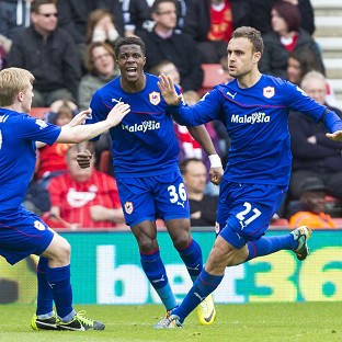 Juan Cala, right, celebrates scoring the only goal