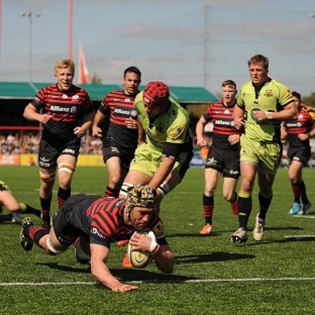 Salisbury Journal: Kelly Brown goes over for a Saracens try
