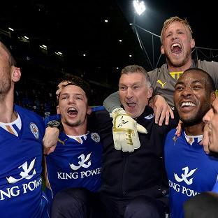 Leicester City manager Nigel Pearson, centre, was full of praise for his side
