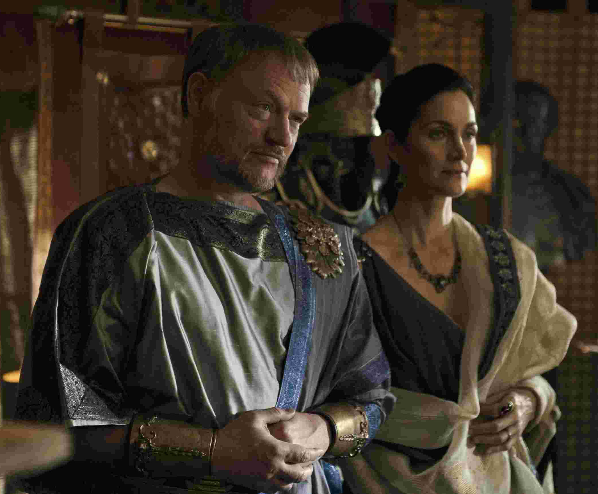 Severus (Jared Harris) and Aurelia (Carrie-Anne Moss). Picture by PA Photo/Entertainment One