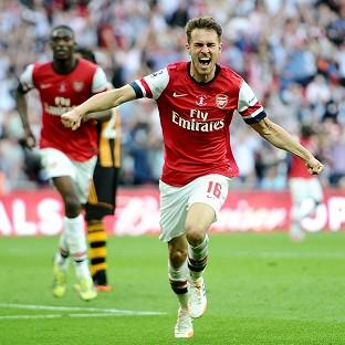 Arsenal's Aaron Ramsey celebrates after scoring the winner