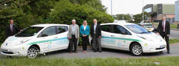 From left, engineering and parking manager at Christchurch and East Dorset Councils Jonathan Ross, county councillor Peter Finney, district councillors Margaret Phipps and Mike Dyer and Lindsay Cass, head of property and engineering