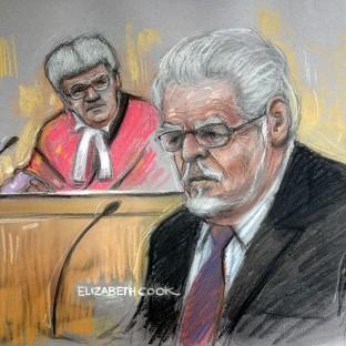 Salisbury Journal: Court artist drawing by Elizabeth Cook of Rolf Harris in the dock at Southwark Crown Court. (Elizabeth Cook/PA)