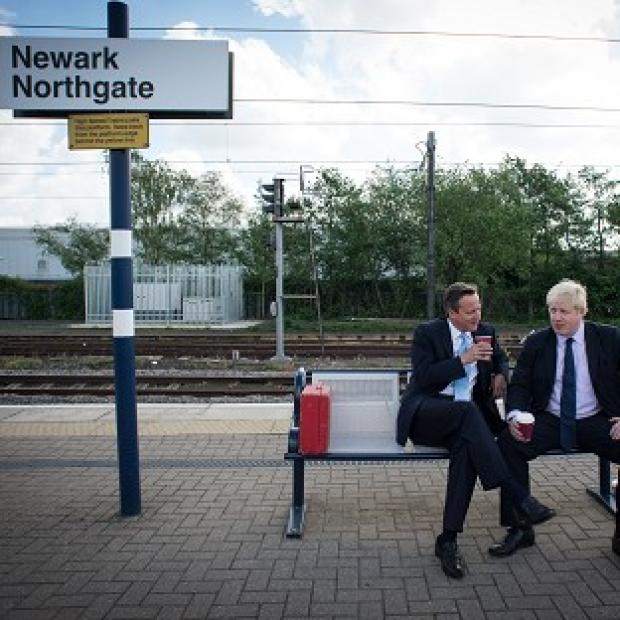 Salisbury Journal: Prime Minister David Cameron and Mayor of London Boris Johnson at Newark railway station following a campaign visit to the town