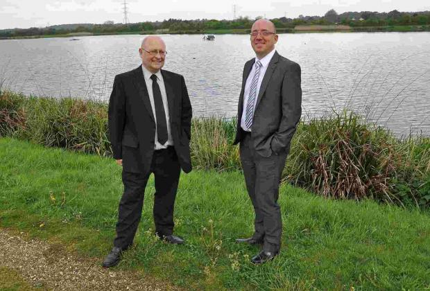Tony Primmer, SBW's Production Manager (left) and Tim Latcham, Head of Water Supply, at Longham Lakes.
