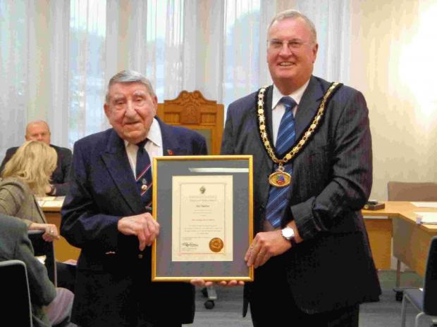 Sid Slatter receives his award from mayor Steve Rippon Swaine