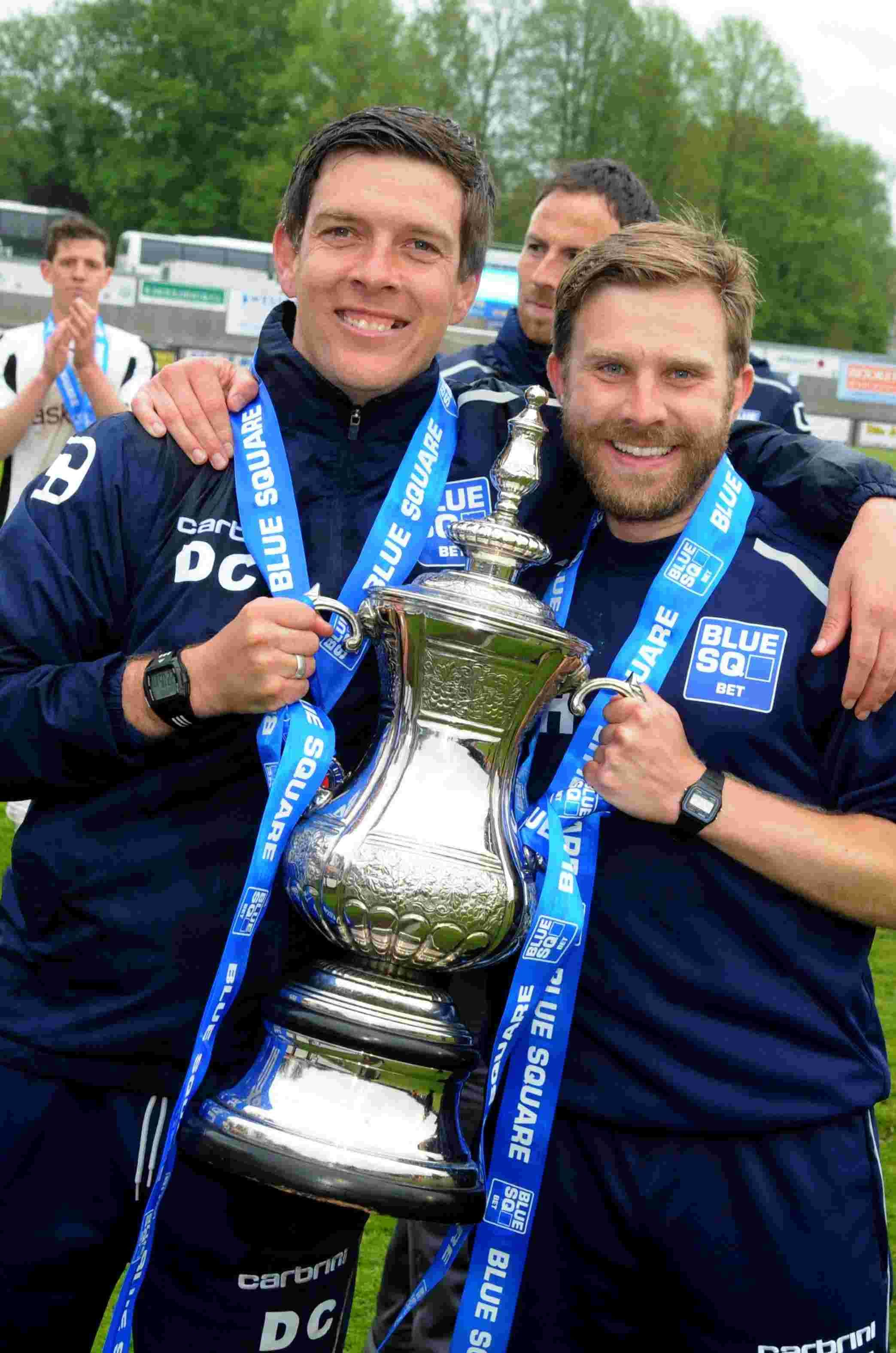 Darrell Clarke and Mikey Harris, pictured, after winning the Conference South play-off final last year