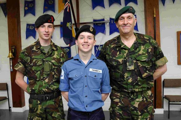Sgt Fritz Macaulay, right, with L/Cpl Gregor Anderson and leading cadet JamesTwomey fromTS Salisbury who have been chosen to represent theSea Cadets in France at the D-Day landing anniversary