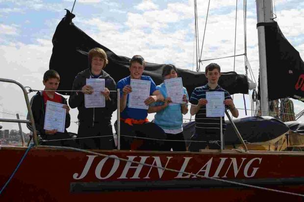 John Bratherton, left, with other lucky youngsters on the MDL Sailing trip