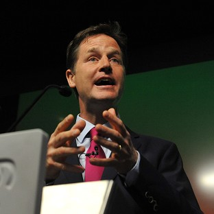 Nick Clegg is at odds with the Tories over trade union funding.