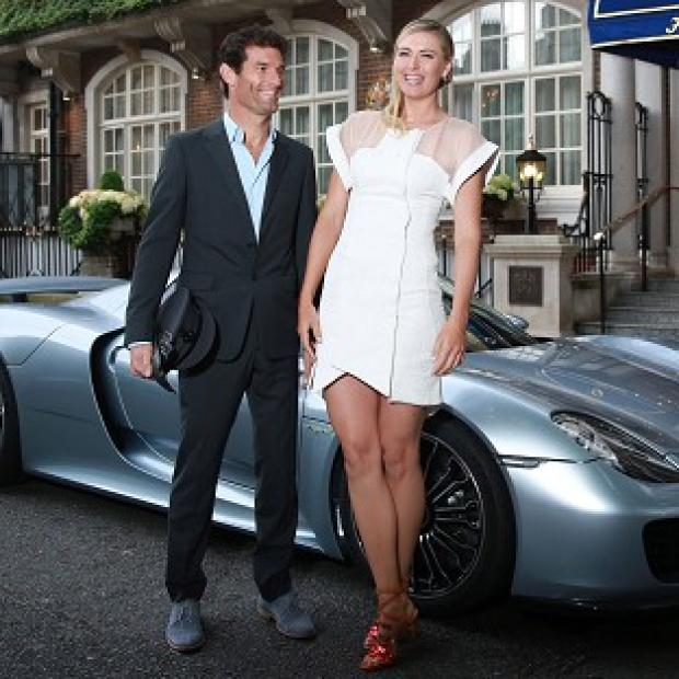 Salisbury Journal: Maria Sharapova is picked up by racing driver Mark Webber and driven to the Women's Tennis Association (WTA) Pre-Wimbledon Party