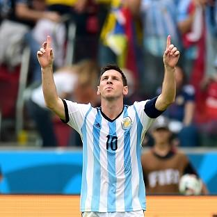 Lionel Messi looks to the heavens after taking his World Cup 2014 tally to four goals