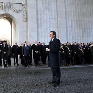 David Cameron in Ypres last December - he has returned with other EU leaders to mark the 100th anniversary of the First World War (AP)