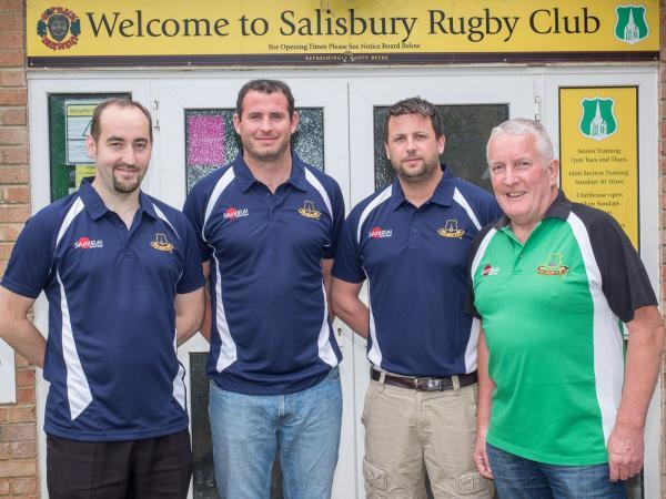 Director of rugby Johnny Mussell, right, welcomes new coaching team of Dan Jeffries, Liam Gilbert and Matt Blake to the club