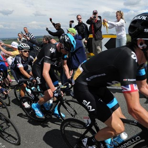 Salisbury Journal: Team Sky's Chris Froome, centre, is happy with his positioning at this stage of the competition