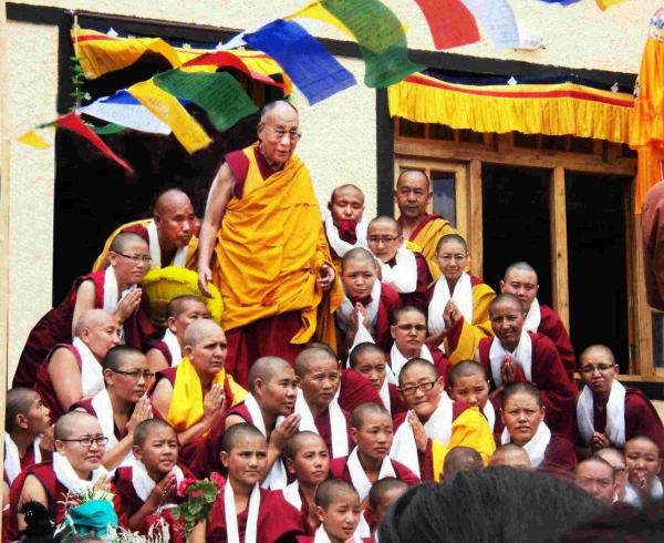 His Holiness the Dalai Lama at Basgo Nunnery in Ladakh