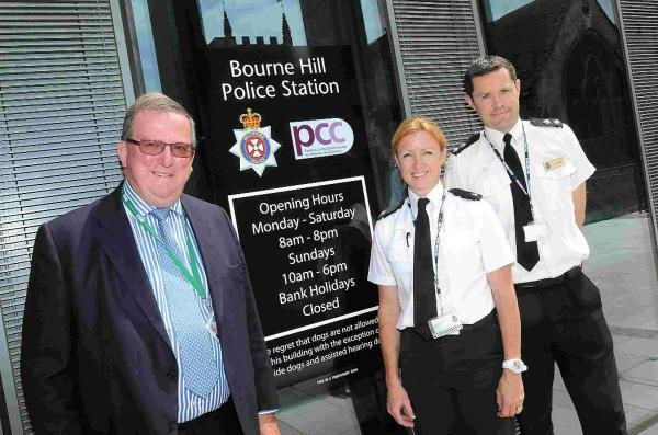 Salisbury Journal: Wiltshire councillor in charge of internal transformation, Stuart Wheeler with superintendent Charlie Armstrong and Inspector Dave Minty at Bourne Hill Police Station