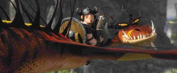 Snotlout riding his dragon in How To Train Your Dragon 2 Picture: PA Photo/ DreamWorks Animation