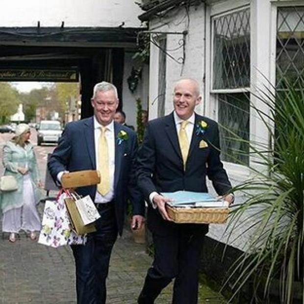 Salisbury Journal: Canon Jeremy Pemberton, left, married his long-term partner Laurence Cunnington at a civil ceremony in April