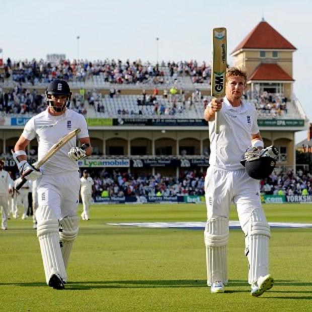 Salisbury Journal: Joe Root, right, and James Anderson, left, reached stumps unbeaten