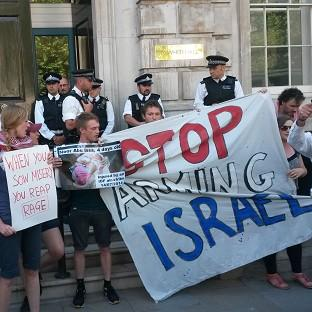 Pro-Palestinian demonstrators group, London Palestine Action, outside the Cabinet Office in Whitehall, central London