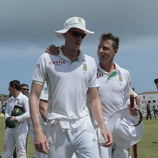 Morne Morkel, left, and Dale Steyn, right, shared eight second-innings wickets (AP)