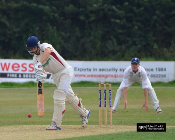 Jack Mynott is bowled out after collecting five runs