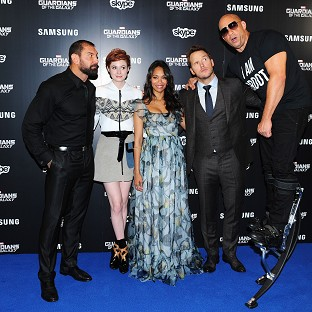David Bautista, Karen Gillan, Zoe Saldana, Chris Pratt and Vin Diesel at the Guardians Of The Galaxy premiere in London
