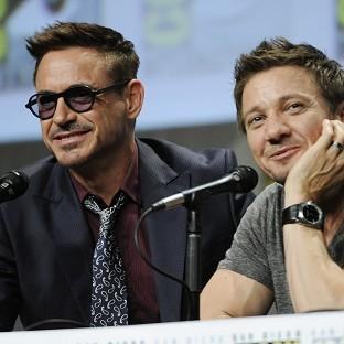 Actors Robert Downey and Jeremy Renner take part in the Mar