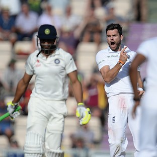 James Anderson celebrates one of his three wickets, the scalp of Ravindra Jadeja