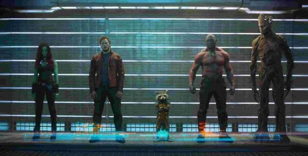 From left: Peter Quill (Chris Pratt), Rocket Raccoon (voiced by Bradley Cooper), Drax The Destroyer (Dave Bautista) and Groot (voiced by Vin Diesel)     Picture: PA Photos/Walt Disney Studios
