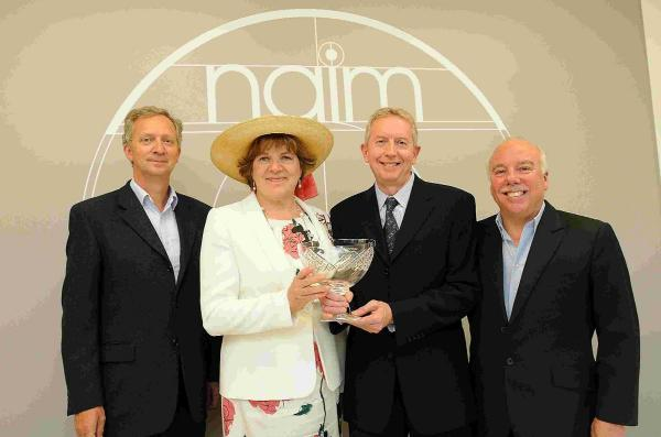 Presentation of the Queen's Award for Enterprise in Innovation by the Lord Lieutenant of Wiltshire Sarah Rose Troughton to Neil Carden, Roy George and Paul Stephenson of Naim Audio
