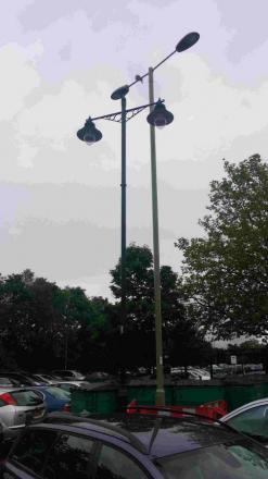 The old and new lamps in the Furlong car park