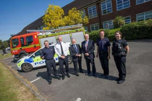 Station manager Rob Dellow, deputy chief constable Craig Denholm, Hampshire Fire Authority chairman Royston Smith, police and crime commissioner Simon Hayes, chief fire officer John Bonney and PC Jessica Wilkins at Leigh Road