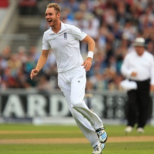 Stuart Broad celebrates the wicket of Cheteshwar Pujara during the fourth Investec Test