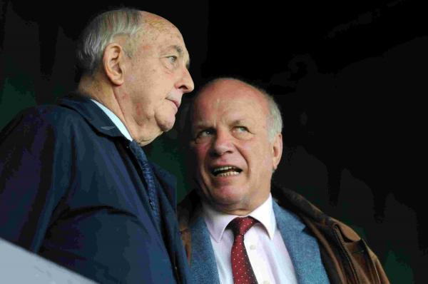 Football Conference chairman Brian Lee, left, with FA chairman Greg Dyke, right