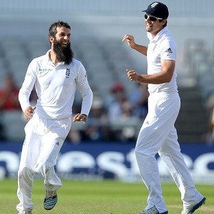 Moeen Ali, left, has flourished under the captaincy of Alastair Cook, right