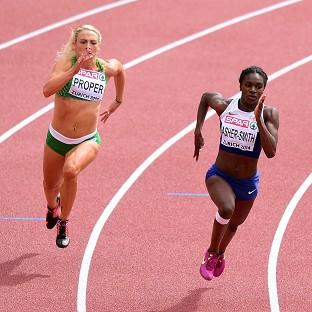 Dina Asher-Smith, right, is through to the 200m semis