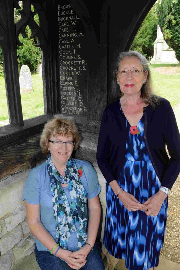 Bea Tilbrook and Wendy Lawrence with some of the names on the memorial.