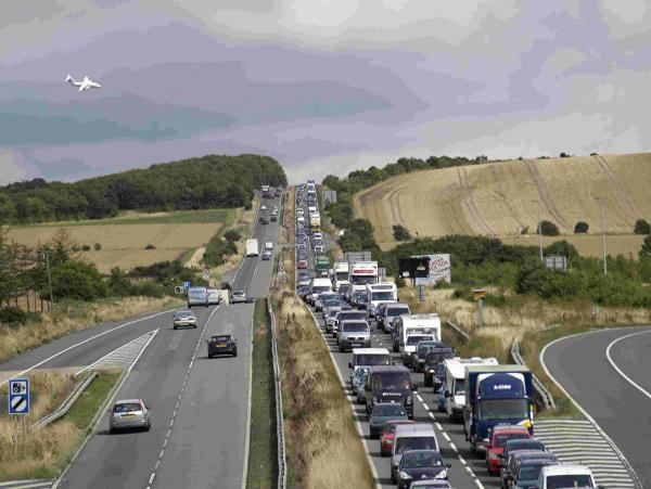 Heavy traffic on the A303