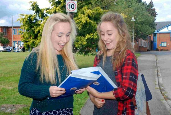 A* pupils Emily Bufton Taylor and Natasha Wale from Burgate School