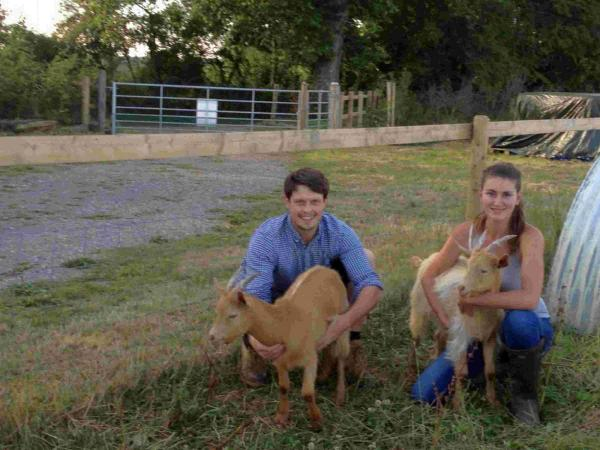 Nick Crowe and Sophia Fletcher with their goats at Sequoia Farm