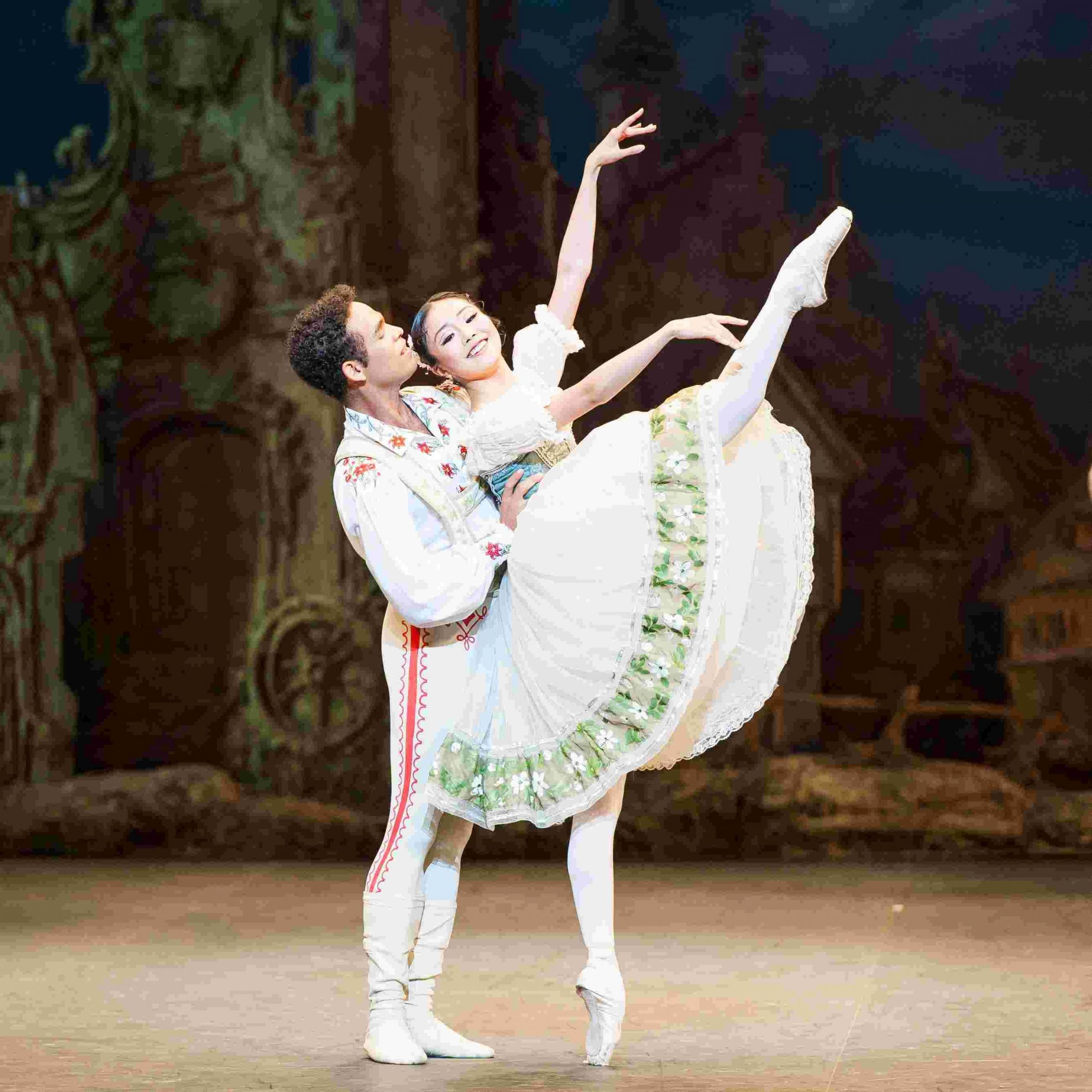 Shiori Kase (Swanilda) and Yonah Acosta (Franz) rehearse in English National Ballet's Coppélia