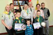 Luke and Lucas with their parents and cub scout leaders